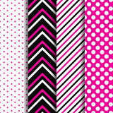 Set of simple seamless pattern with purple, white, black