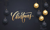 Decoration golden ball ornament Merry Christmas holiday greeting