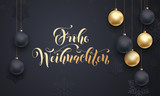 German Merry Christmas Frohe Weihnachten golden decoration calligraphy lettering