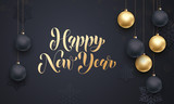 Golden decoration ball ornament Happy New Year holiday greeting
