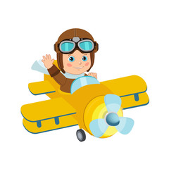 Cute Boy Pilot Flies On A Airplane Cartoon Vector. Retro Boy Pilot Isolated In White Background. Boy Pilot Costume. Baby Boy Pilot Hat.