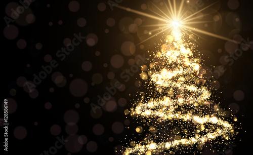 Fridge magnet Golden background with Christmas tree.