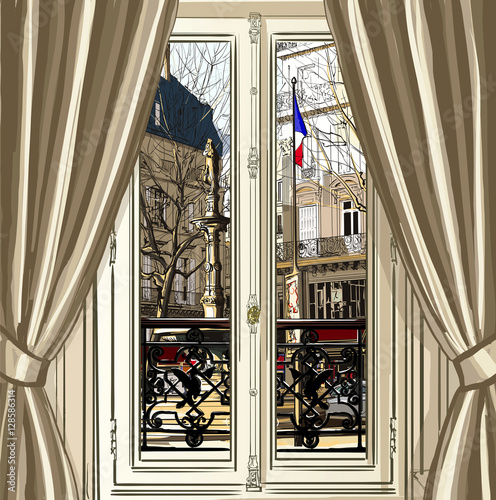 France, Paris, window opening on a street - 128586314