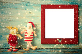 Christmas photo frame card Santa and reindeer.