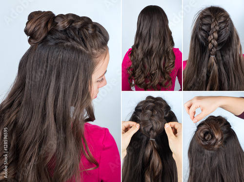 Keuken foto achterwand Kapsalon hairstyle bun with plait tutorial