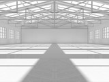 Clean white empty warehouse with windows