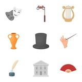 Theater set icons in cartoon style. Big collection of theater vector symbol stock illustration