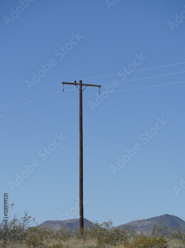 Poster Countryside electric power station against of blue sky