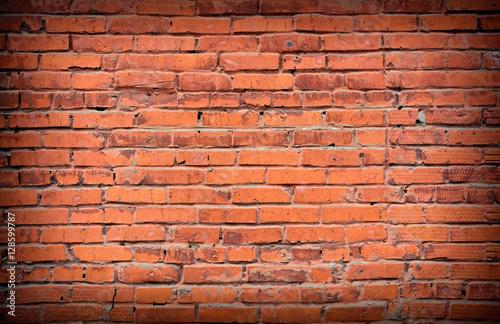 Foto op Plexiglas Wand Retro red brick Wall background.