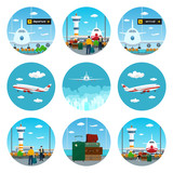 Set of Airport Icons,Scoreboard Departure and Arrival,View on Airplane and Control Tower through the Window from a Waiting Room with People,Airplane Flying to the East and West,Luggage Bags