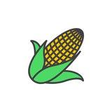 Maize, Corn line icon, filled outline vector sign, linear colorful pictogram isolated on white. logo illustration