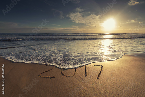 Poster Happy New Year 2017 concept on the sea beach at sunset