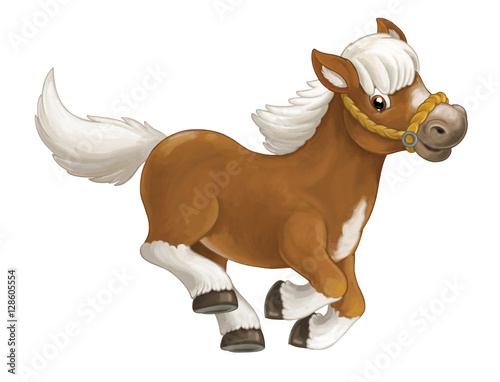 Cartoon happy horse is running jumping smiling and looking - artistic style - isolated - illustration for children - 128605554