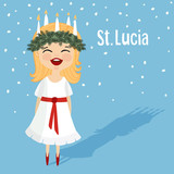 Cute little girl with wreath and candle crown, Saint Lucia. Swedish Christmas tradition. Vector.
