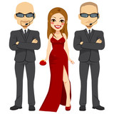 Professional bodyguards standing protecting famous actress woman on elegant red dress