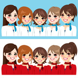 Beautiful stewardess women team posing together smiling on two different uniform color version