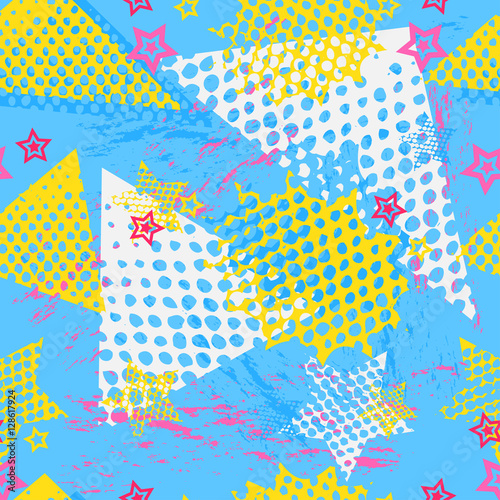 Fototapeta Abstract seamless pattern for girls, boys, clothes. Creative vector background with dots, geometric figures,stripes, stars.Funny wallpaper for textile and fabric. Fashion style. Colorful bright.