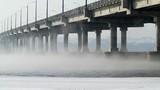 automobile bridge in winter morning.