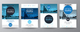 collection of poster flyer brochure cover layout design template with blue circle shape graphic elements and space for photo background