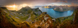 Panoramic View from Husfjellet Mountain on Senja Island during Sunset, Norway - 128626986