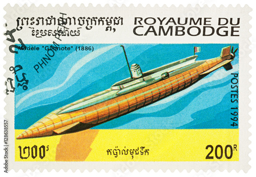 Poster Old French submarine Gimnote (1886) on postage stamp