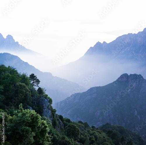 Smoky Mountains, landscape of corsica near Porto - 128642597