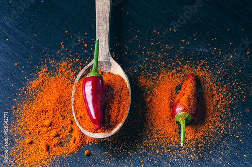 Poster Red chilli peppers, spicy on a wooden spoon