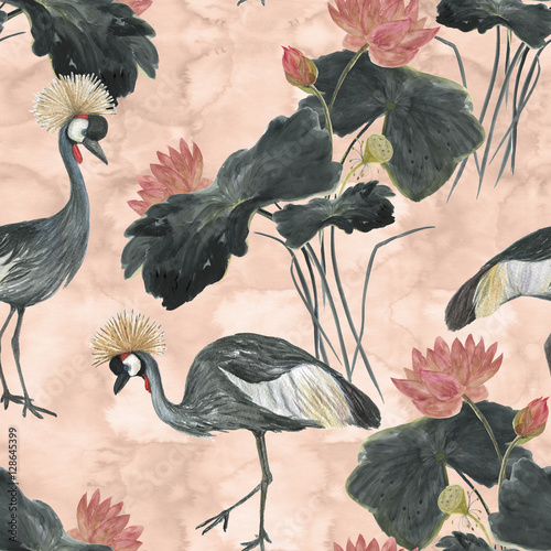 Cotton fabric Chinese painting seamless pattern with Lotus and Grey crowned cranes. Asian style painting