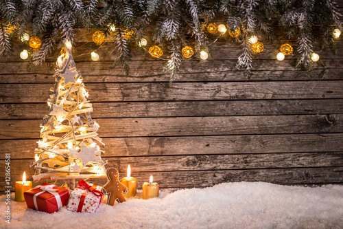Christmas decoration on wooden background Poster