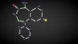 Diazepam molecule structure. Chemical structure of valium molecule. Tranquilizer