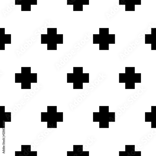 Vector seamless pattern with cros bold geometric shapes. Scandinavian trendy print monochrome background.