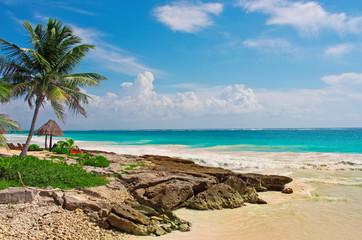 Tropical beach in caribbean sea. Yucatan, Mexico.