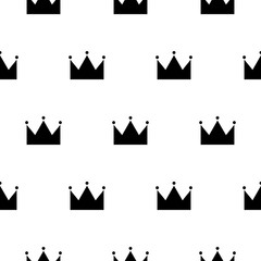 Black and white princess crown seamless pattern. Crowns scandinavian kid wallpaper and fabric design.