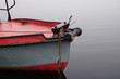 Antique fishing boat in Grandes-Piles, Quebec on a foggy day
