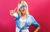Young woman wearing shutter shades sunglasses