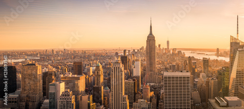 New York New York City skyline panorama at sunset