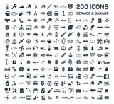 Car service & garage 200 isolated icons set on white background, rep
