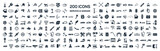 Car service & garage 200 isolated icons set on white background,