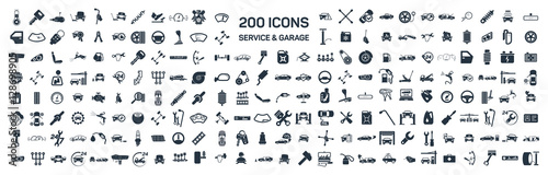 Car service & garage 200 isolated icons set on white background, - 128698905