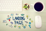 Landing Page  concept with workstation