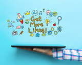 Get More Likes concept with a tablet