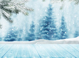 Merry christmas and happy new year greeting background with tabl
