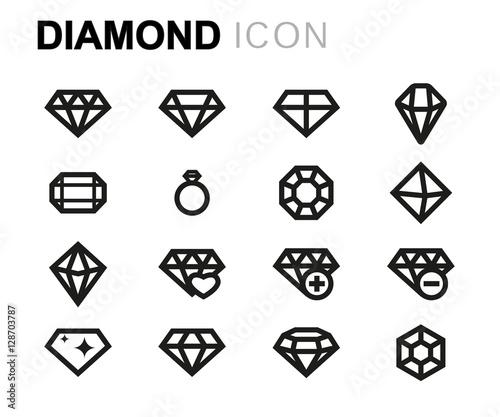 Zestaw ikon wektorowych linii diamentowych