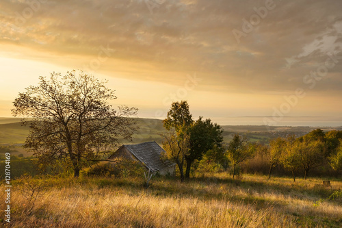 Balaton and Nivegy valley with wine cellar at sunrise, Hungary Poster