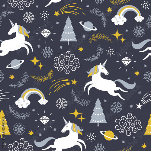 Cotton fabric seamless pattern with unicorns, Christmas theme