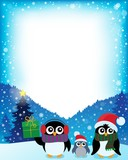 Frame with stylized Christmas penguins 2