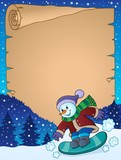 Parchment with snowman on snowboard