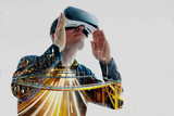 The man with glasses of virtual reality. Future technology.