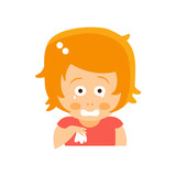 Little Red Head Girl In Red Dress Crying With Handkerchief Flat Cartoon Character Portrait Emoji Vector Illustration