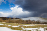 Slovakia - The spring storm over the fields of Silicka Planina plateau.